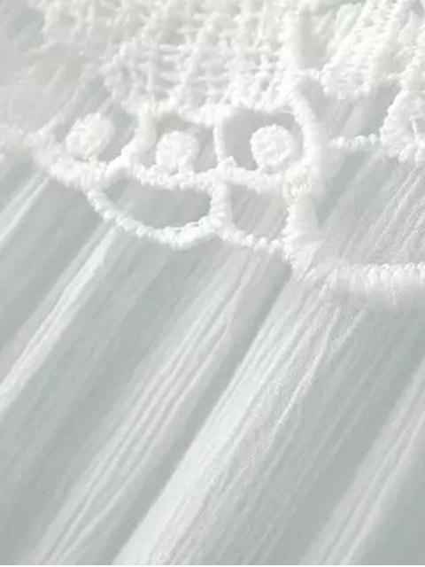 Splicing dentelle col rond Chemisier à manches longues - Noir L Mobile