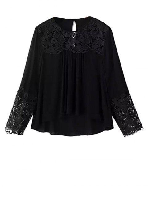 Encaje de empalme de cuello redondo de manga larga de la blusa - Negro S Mobile