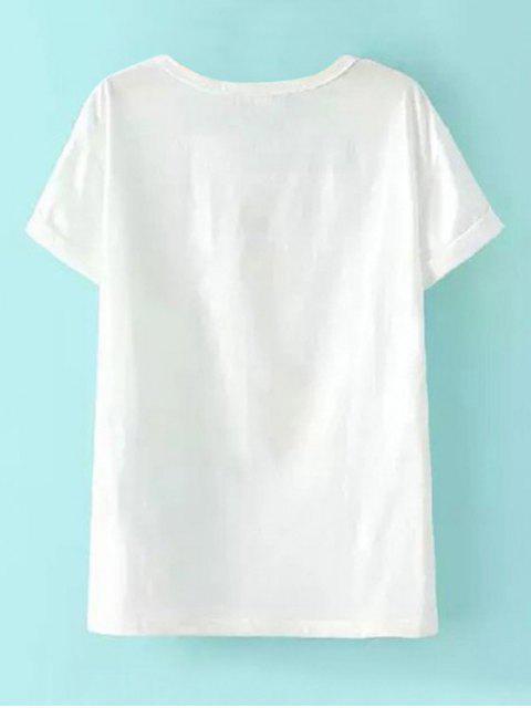 women Short Sleeve Elephant Print T-Shirt - WHITE L Mobile
