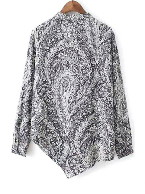 outfit Irregular Hem Stand Collar Long Sleeve Printed Shirt - BLACK M Mobile