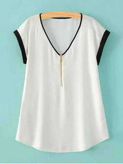 new Zipper V-Neck Short Sleeve T-Shirt - WHITE L Mobile
