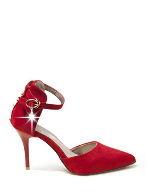 lady Tow-Piece Rivet Pointed Toe Pumps - RED 38 Mobile