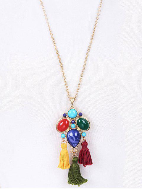 hot Faux Gem Tassel Pendant Necklace - GOLDEN  Mobile