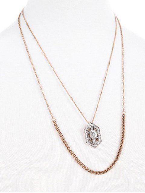 new Rhinestone Water Drop Multilayered Pendant Necklace -   Mobile