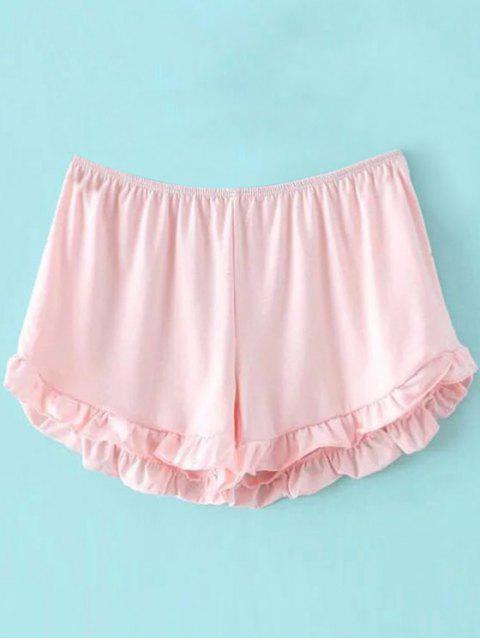 Shorts à taille élastique à couleur pure - ROSE PÂLE Taille Unique(S'adap Mobile