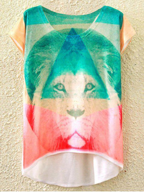 outfit Round Neck Short Sleeve Retro Lion Print T-Shirt - WHITE ONE SIZE(FIT SIZE XS TO M) Mobile