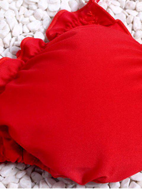 online Ruffles Halter String Bikini Set - RED S Mobile