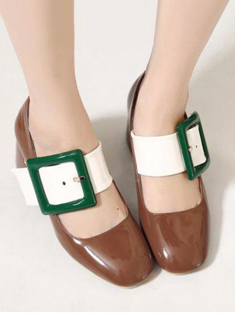 buy Color Block Buckle Square Toe Pumps - BROWN 38 Mobile