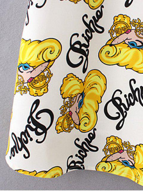 women's Cartoon Print Shift Dress - YELLOW M Mobile
