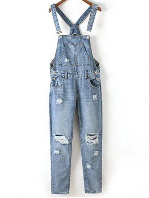 online Bleach Wash Ripped Denim Overalls - BLUE L Mobile
