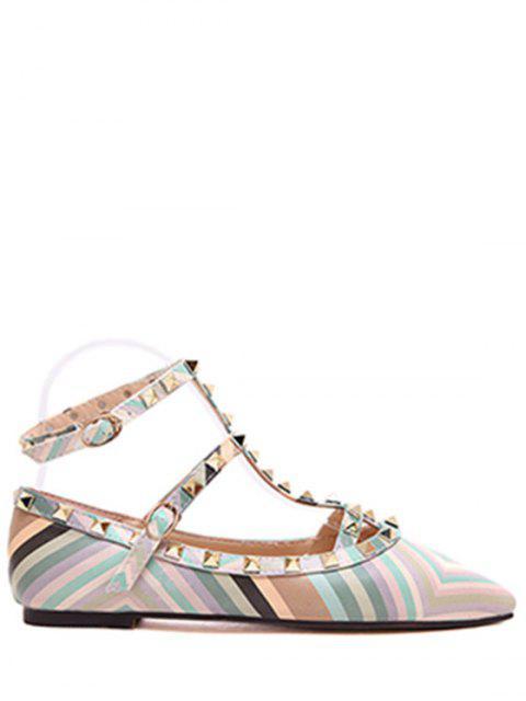 lady Rivet Strap Color Block Flat Shoes -   Mobile