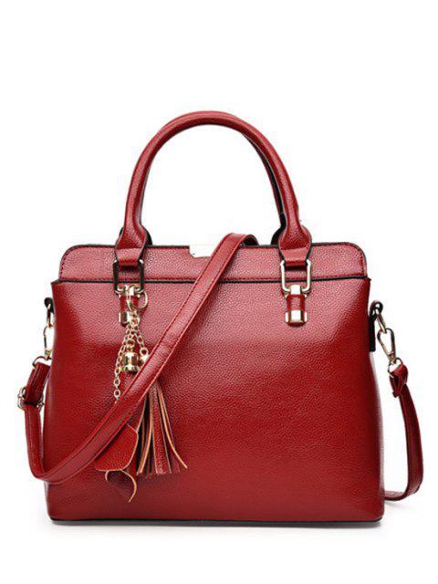 Pendentif massif en cuir couleur PU sac fourre-tout - Rouge vineux   Mobile