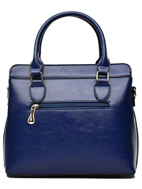 shops Pendant Solid Color PU Leather Tote Bag -   Mobile