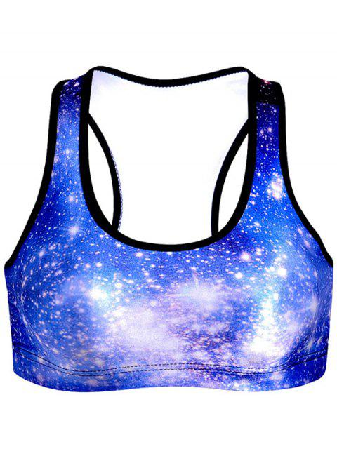 chic Star Print Sports Bra - BLUE M Mobile