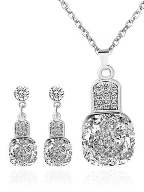 fancy Rhinestone Geometric Wedding Jewelry Set - SILVER  Mobile