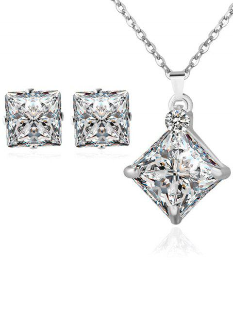 unique Rhinestone Square Wedding Jewelry Set - SILVER  Mobile