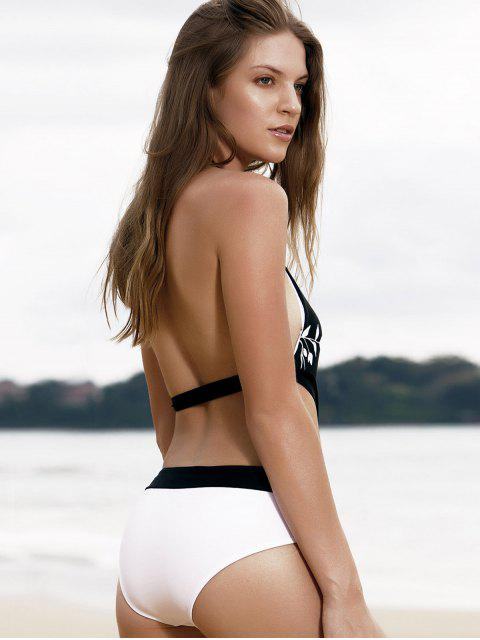 latest Floral Spliced Halterneck One-Piece Swimwear - WHITE AND BLACK XL Mobile