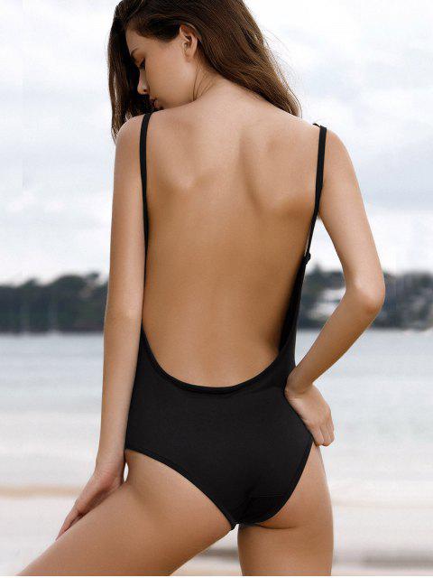 shops Spaghetti Strap Backless One-Piece Swimwear - BLACK S Mobile