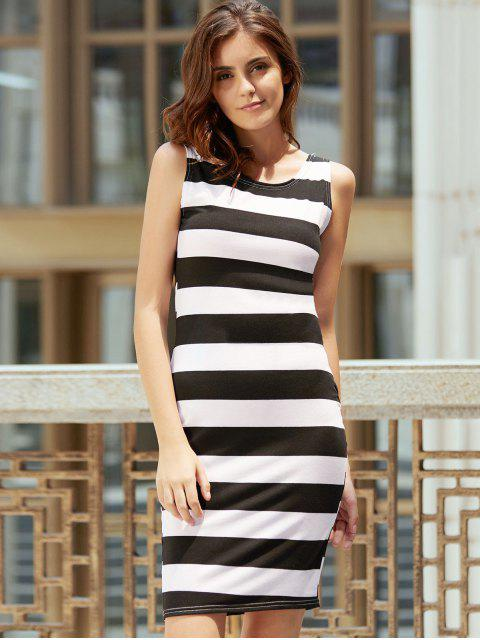 women Backless Striped Sheath Dress - WHITE AND BLACK S Mobile