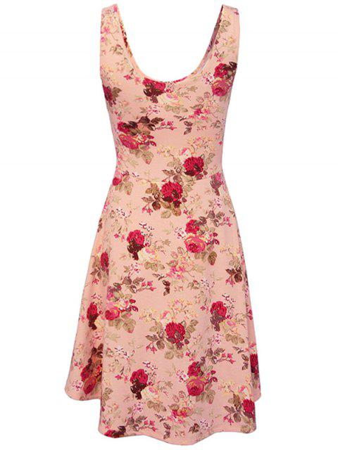new Sleeveless Chiffon Flroal Flowing Dress - PINK M Mobile