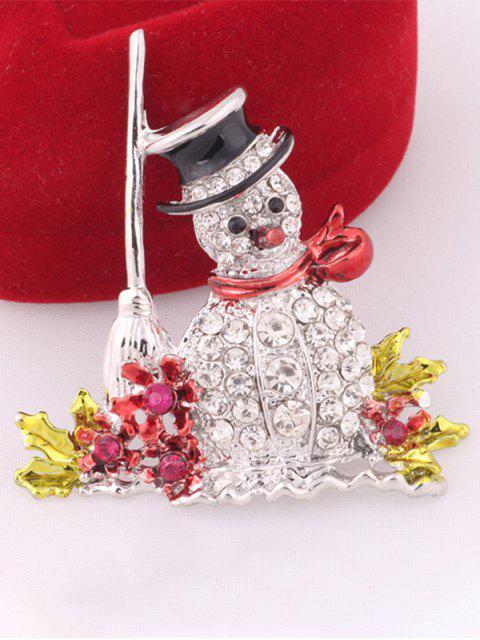 women Rhinestone Embellished Christmas Snowman Brooch -   Mobile