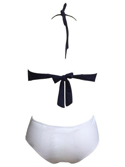 women Tassels Spliced Halter High Waisted Bikini Set - WHITE L Mobile