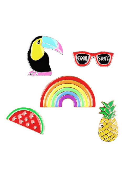 shops Rainbow Pineapple Watermelon Glasses Brooch Set - COLORMIX  Mobile