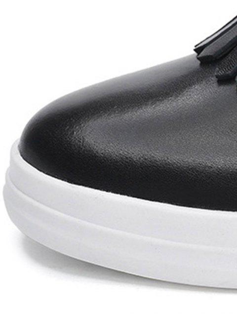 hot Rhinestone Fringe Round Toe Wedge Shoes - BLACK 35 Mobile