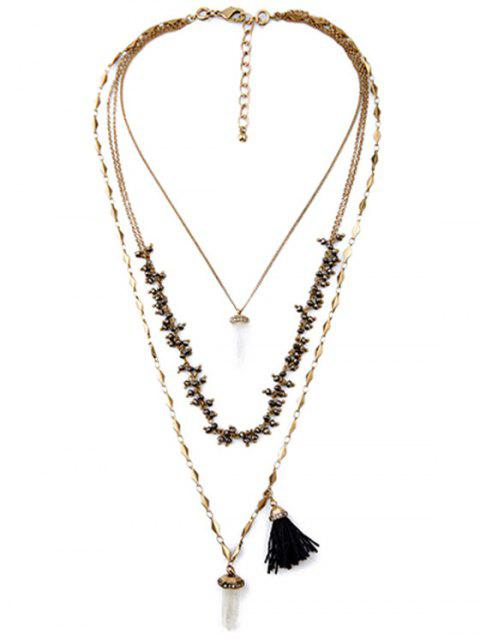 women's Multilayered Long Style Necklace - COPPER COLOR  Mobile