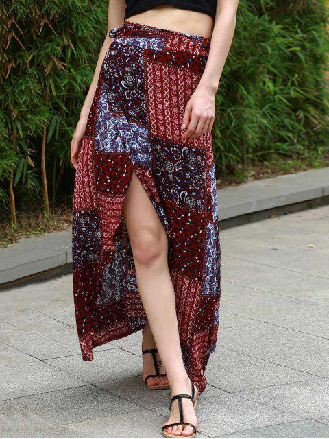 shops Ethnic Print High Waist High Low Skirt - COLORMIX L Mobile