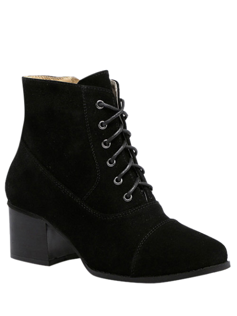 womens Suede Square Toe Chunky Heel Boots -   Mobile