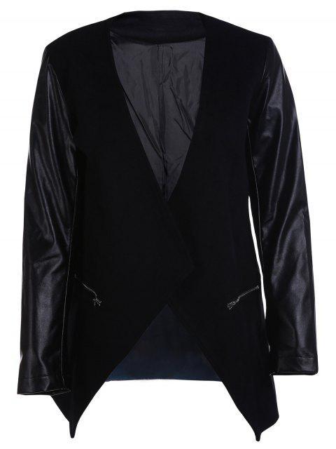 Vorne offen PU Leather Sleeve Trenchcoat - Schwarz 2XL Mobile