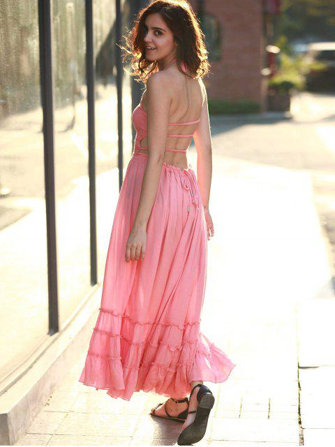 affordable Solid Color Open Back Halter Sleeveless Dress - PEACH RED L Mobile