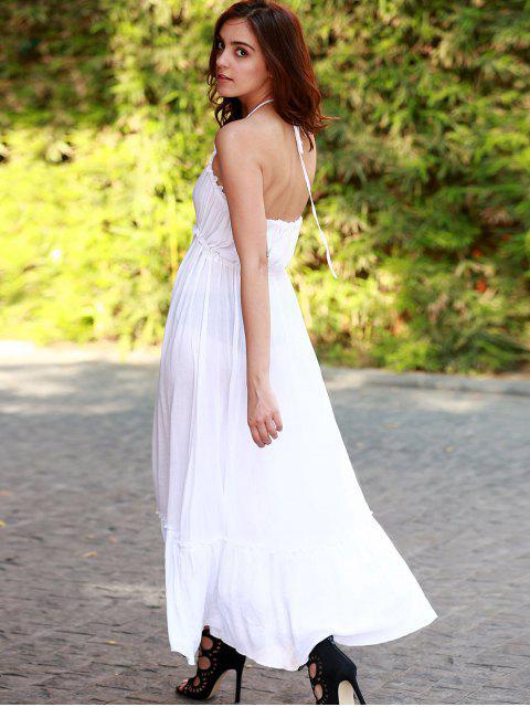 latest Blackless Halter Long Flowing Dress - WHITE L Mobile
