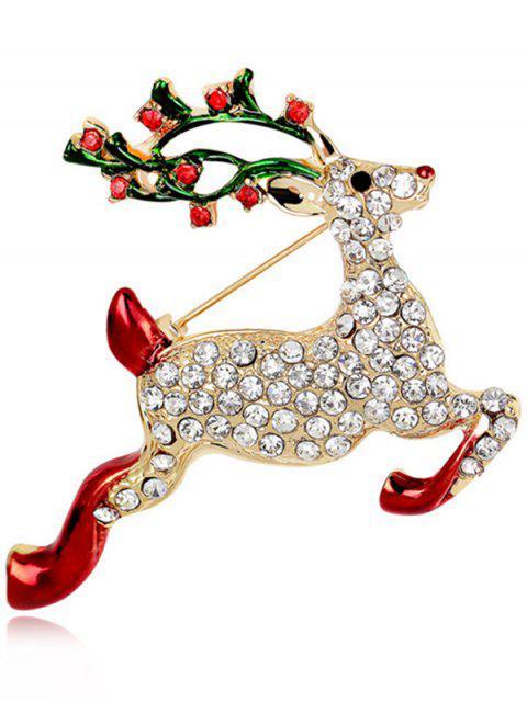 lady Christmas Rhinestone Reindeer Brooch -   Mobile