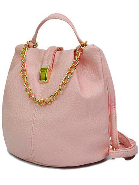 unique Solid Color Chains PU Leather Satchel - PINK  Mobile