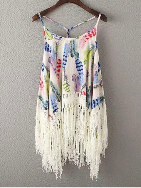 chic Tassels Spliced Spaghetti Straps Printed Tank Top - BLUE ONE SIZE(FIT SIZE XS TO M) Mobile