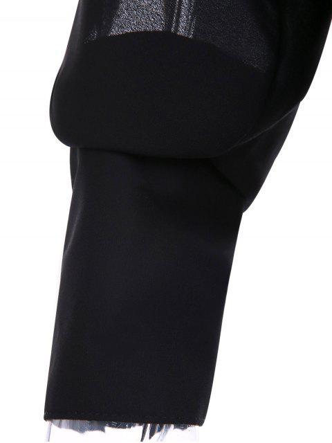 shop Solid Color V-Neck Split Sleeve Bodysuit - BLACK XL Mobile