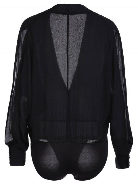 Solide Couleur V-Neck manches fendues Bodysuit - Noir XL Mobile