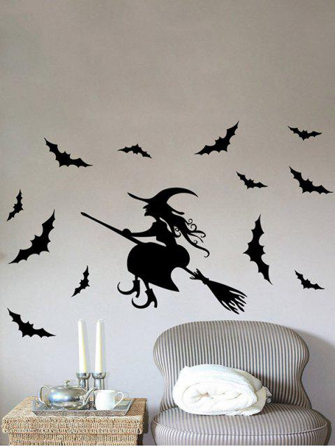 chic Waterproof Happy Halloween Witch Bats Vinyl Wall Stickers Custom - BLACK  Mobile