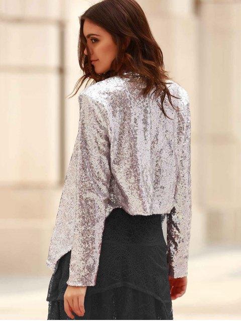 hot Asymmetric Long Sleeve Sequins Coat - SILVER M Mobile