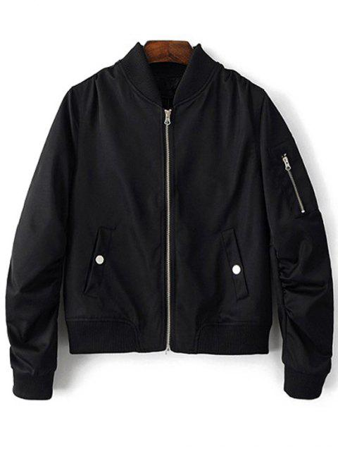 fancy Zippered Sleeve Bomber Jacket - BLACK L Mobile