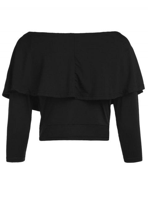 trendy Flouncing Off The Shoulder Cropped T-Shirt - BLACK XL Mobile