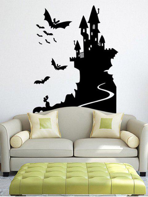 Bats Castle Happy Halloween Sticker imperméable à la pièce - Noir  Mobile