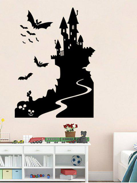 fancy Bats Castle Happy Halloween Waterproof Room Wall Sticker - BLACK  Mobile