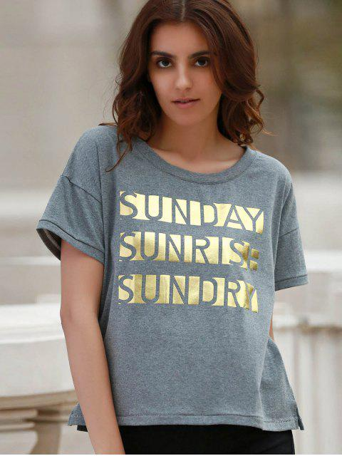 women's Letter Print Short Sleeve Round Neck T-Shirt - GRAY S Mobile