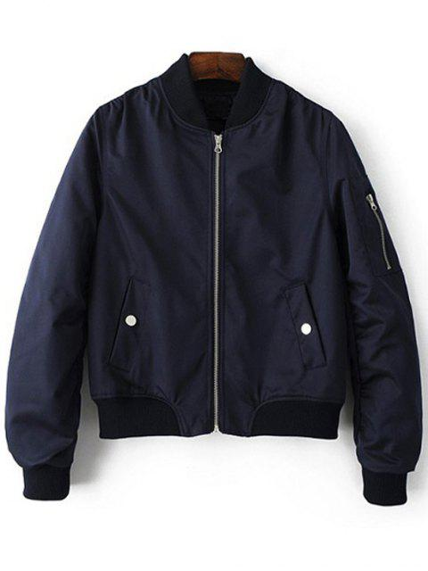 shops Zippered Sleeve Bomber Jacket - BLUE S Mobile