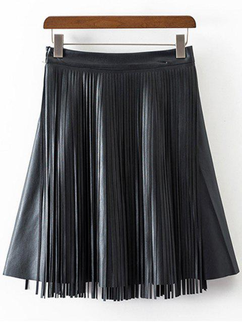 womens PU Leather High Waisted Tassels Spliced Skirt - BLACK M Mobile