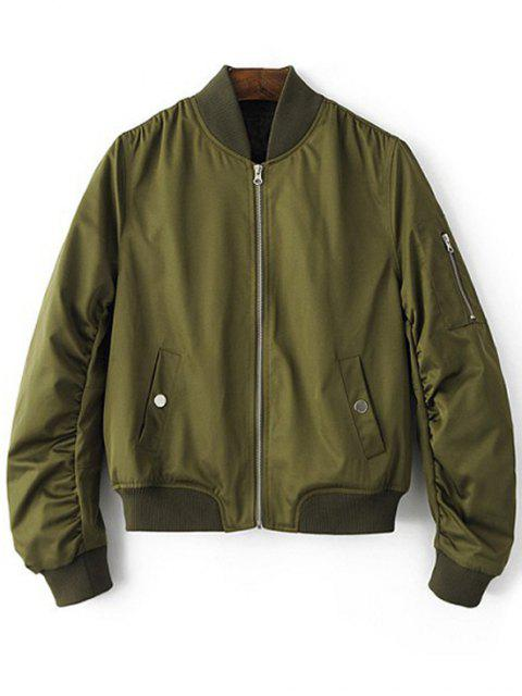 Stehen Neck Zip Up Pilot Jacket - Armeegrün M Mobile