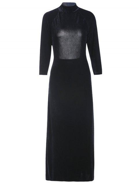 Robe en velours col montant dos nu avec fente haute - Noir L Mobile